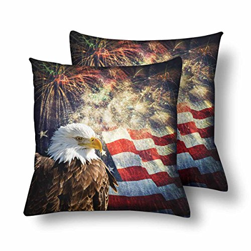 InterestPrint Bald Eagle with Flag Fireworks Pillowcase Throw Pillow Covers 18x18 Set of 2, Patriotic Independence Day Memorial Day Pillow Sham Cases Protector for Home Couch Sofa Bedding Decorative