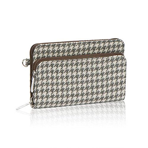 Thirty One Perfect Cents Wallet in Grey Houndstooth - No Monogram - 4808