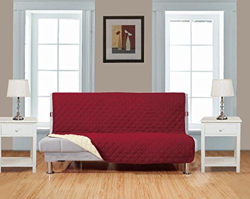 """Superior Quality Reversible Futon Cover 54"""" X 75""""-Furniture Protector For Pets, Kids, Dogs-Large Sofa, Standard Sofa, Loveseat, Futon Recliner and Arm Chair (FUTON-Burgundy / Beige)"""