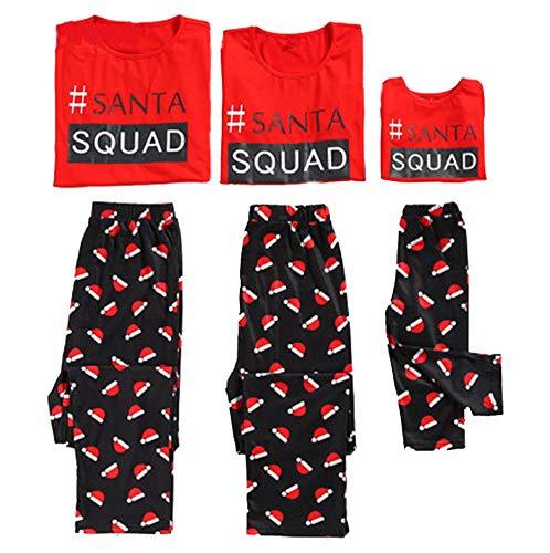 Family Matching Christmas Pajamas Santa Squad Short Sleeve Tops Christmas Hat Pants Sleepwear Set Parent-Child Xmas Homewear (X-Large, Mom) -