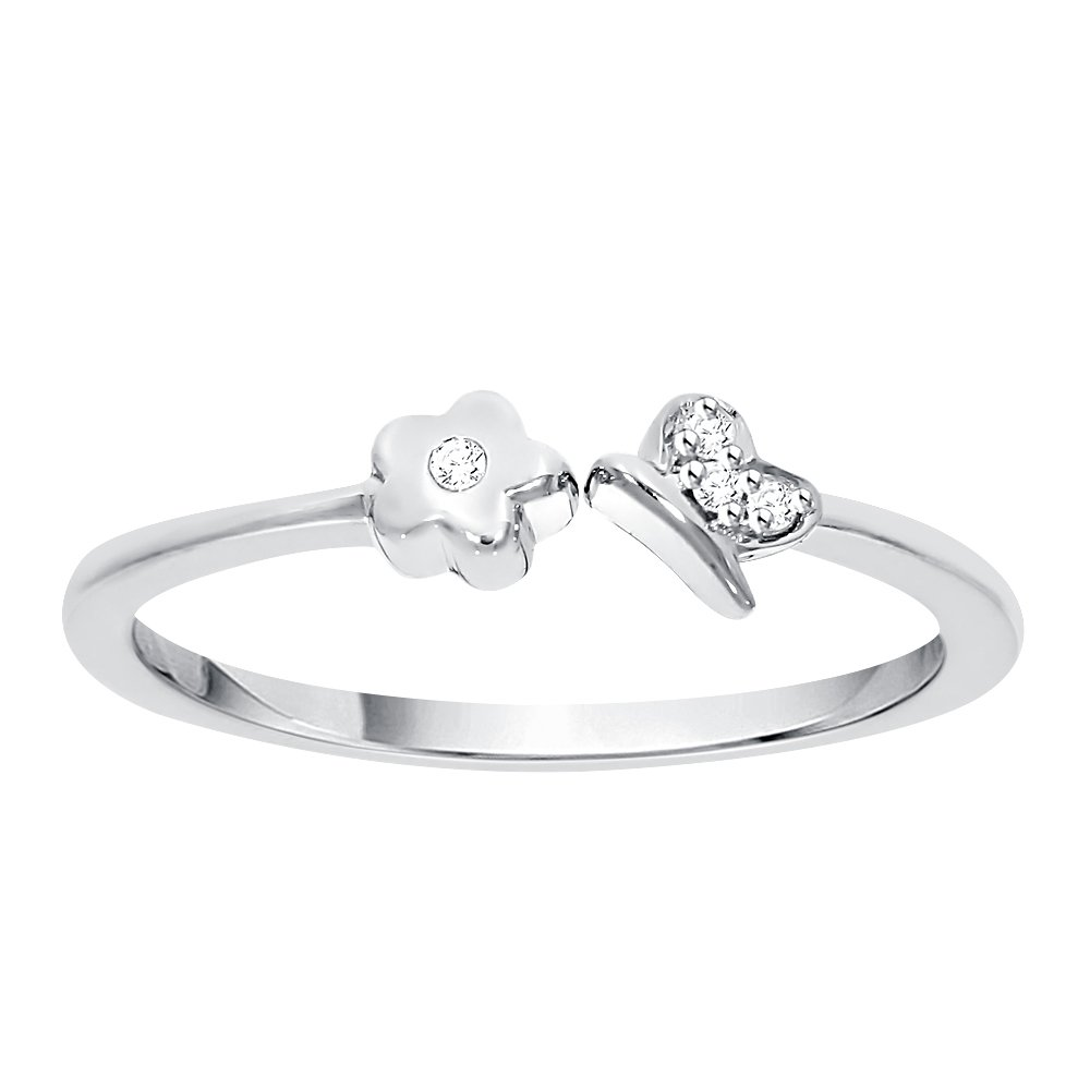 Diamond Accent Flower and Butterfly Fashion Ring in Sterling Silver (GH Color, I2-I3 Clarity) (Size-7)