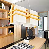 Cheap Cttsb chandelier pendant lamps Japanese modern retro industrial wood art fabrics chandelier lounge dining room bedroom kitchen living room children's room ,4325cm
