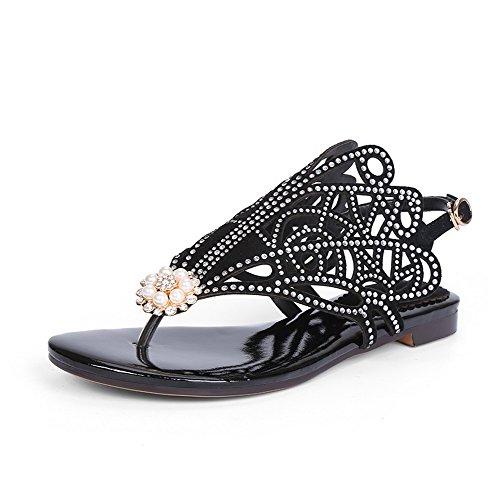 AllhqFashion Womens Low Heels Solid Buckle Split Toe Sandals Black Zqvj4v2V