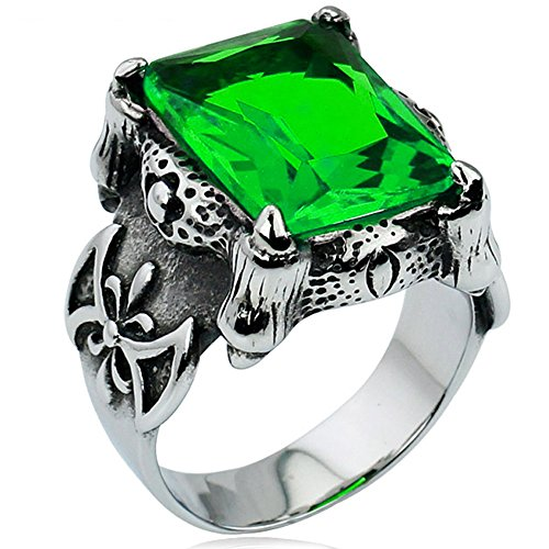 Men's Large Stainless Steel Crystal Dragon Claw Knight Cross Flower Gothic Vintage Ring , Silver Green Size 8