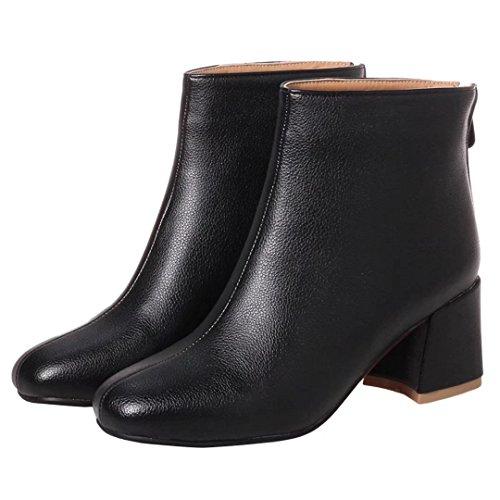 Mid Zip Block Boots Heel Heels Ladies 2 Boots 6 Ankle High AIYOUMEI 5 Chunky 3 8 4 Black UK Womens Shoes pq5FB