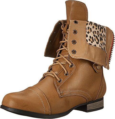 Charles Albert Women's Cablee Combat Boot with Fold-Over Cuff - stylishcombatboots.com