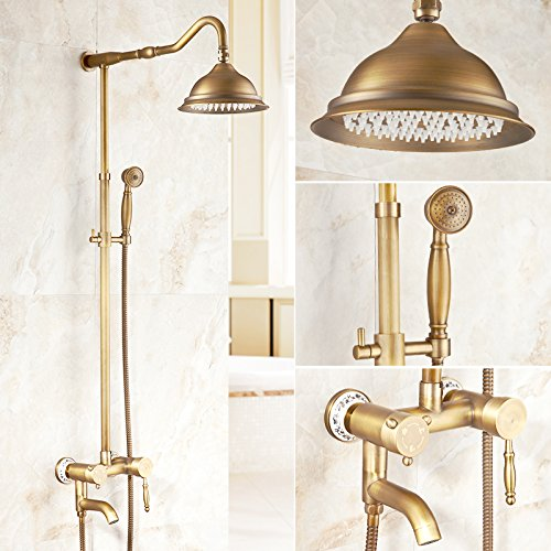 L Hlluya Professional Sink Mixer Tap Kitchen Faucet Antique faucets full copper rain shower set retro shower, hot and cold valve faucets bathroom faucets the C