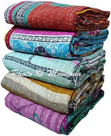 Artisan VIntage Kantha Quilt Handmade Indian Throw Blanket Cotton Coverlet  ART-RL103   By artisanofrajasthan