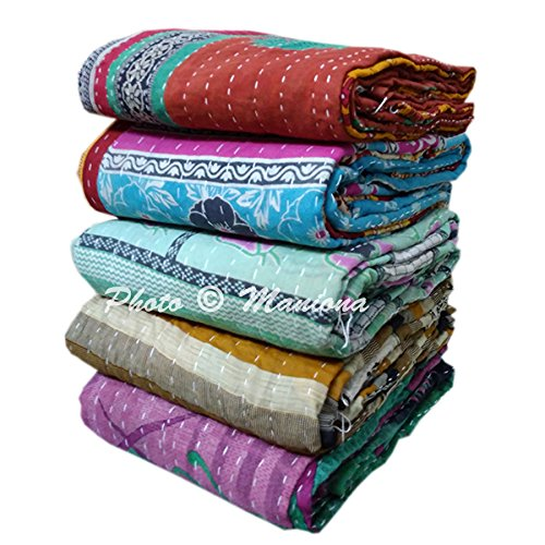 Maniona Crafts Wholesale 5 Pcs Heavy 3 Layered Vintage Kantha Quilts Old Sari Bedspread Throw Twin Size Cotton Heavy Reversible Handmade Blanket Bedspread Kantha (Handmade Cotton Quilt)