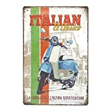 Lambretta Italian El Clasico Blue, Retro Embossed Metal Tin Sign, Wall Decorative Sign