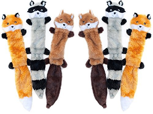 ZippyPaws - Skinny Peltz No Stuffing Squeaky Plush Dog Toy, Fox, Raccoon, and Squirrel - 6 Count ()