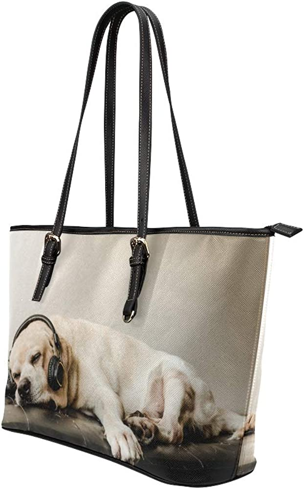 Large Shoulder Tote Bag Happy Animal Dog Enjoy Music Leather Hand Totes Bag Causal Handbags Zipped Shoulder Organizer For Lady Girls Womens Gift Bags Women