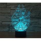 SmartEra® 3D de la ilusión óptica de la serie Star Wars, el Millennium Falcon Modelo, 7 cambiar el color botón táctil de escritorio del USB LED lámpara de tabla ligera