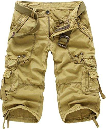Eudolah Mannen broek Vintage Loose riem Khaki 4 3 Fit Cargo Zonder rrdTnqFx