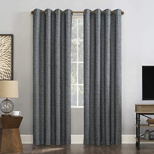 Sun Zero Harding 2-Pack Burlap Weave Thermal Extreme 100 Blackout Grommet Curtain Panel Pair