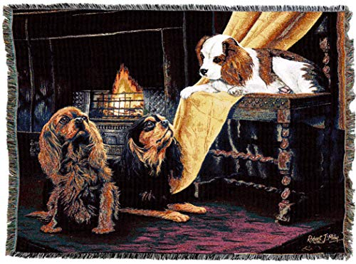 (Pure Country Weavers - Cavalier King Charles Spaniel Woven Tapestry Throw Blanket with Fringe Cotton USA Size 72 x 54)