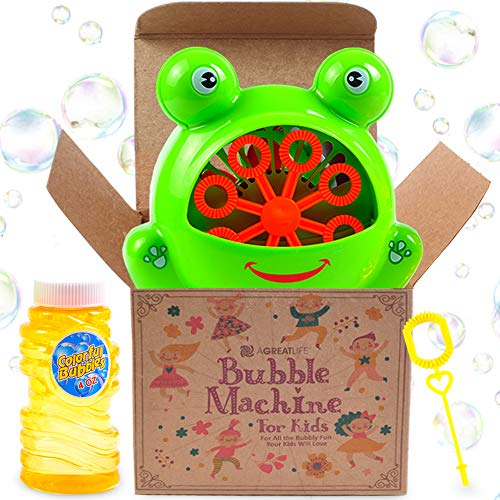 aGreatLife Bubble Machine for Kids | Automatic Bubble Blowing Machine | Easy to Use | Durable High Output Bubble Machine Blower for Tons of Indoor and Outdoor Fun | with Free Bubble Solution by aGreatLife