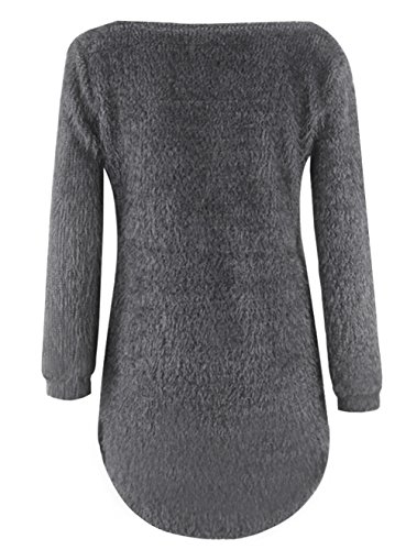Solides Sweat Chemisiers Tops Blouse Femmes lgant Casual Pulls D'hiver Manches Gris Les Warmer Longues shirts fwpKq5xz