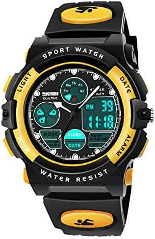 SOKY Cool Toys for 6-15 Year Old Boys, LED 50M Waterproof Sports Digital Watches Gifts for Teen Boys Birthday Christmas Gifts for 6-11 Year Old Girls Boys Stocking Fillers for Teens Kids Yellow SKUSW3
