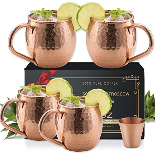 ugs Set of 4 - Solid Copper Handcrafted Copper Mugs for Moscow Mule Cocktail - 16 Ounce - Shot Glass Included (Drinking Team Mug)