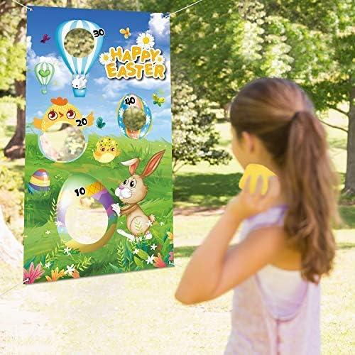 JUSTDOLIFE Easter Toss Game Set Cute Cartoon Door Banner Toss Game Banner with 3 Bean Bags