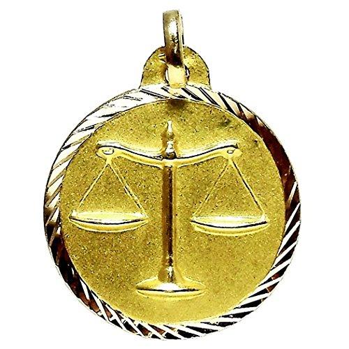Pendentif Balance médaille d'or horoscope 18k [86]