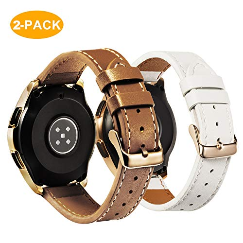 - for Samsung Galaxy Watch 42mm Band - 2 Pack 20mm Premium Genuine Leather Straps with Rose Gold Buckle, White + Brown