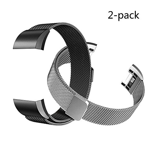 Military Connector (Fitbit Charge 2 Bands (2-Pack), Tecson Stainless Steel Milanese Loop Replacement Bracelet Strap with Unique Magnet Lock for Fitbit Charge 2,Rose Gold, Rose Pink, Silver (Silver & Black))