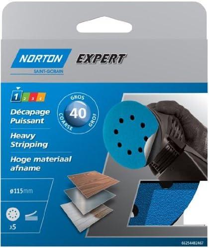 Norton Expert Pex Heavy-Stripping Sanding Discs with 8 Holes Self-Adhesive Diameter 115 mm 40 Grit Set of 5