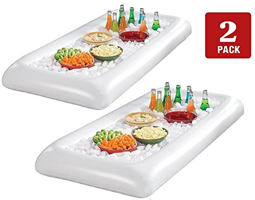 GGI 2 Pack Inflatable Serving Bar Salad Bar With Drain Plug for Picnics, Buffet, Pool Parties (Food Tabletop Bar)