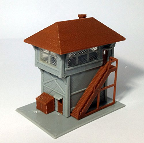 outland models Train Railway Layout Signal Tower / Box for Station N Scale 1:160 (Signal Tower Set)