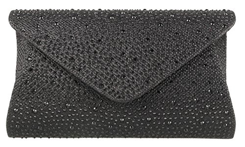 Gemstones Bag Girly Design Handbags Black Clutch Bw75Sq