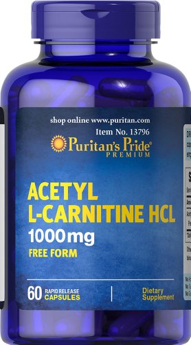 Puritan's Pride Acetyl L Carnitine 1000 mg 60 Capsules