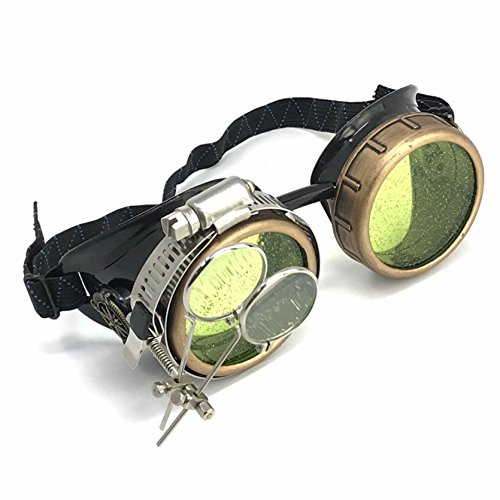 Steampunk Goggles/Rave Holographic Green Glasses with Compass Design and Double Ocular Loupe by UMBRELLALABORATORY