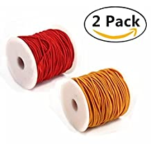 2 Roll Elastic Cord, Magnolora Beading Crafting Stretch String Jewelry Bracelet Beading String Ropes for Jewelry Making, 0.8 mm, 100 m/ Roll, Red&Yellow