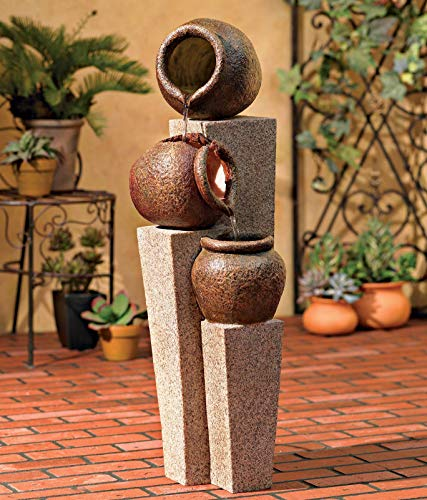 "John Timberland Three Urn and Pillar Cascade35 1/2"" H Outdoor/Indoor Fountain"