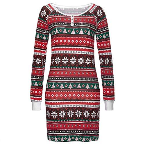 Women's Christmas Dress Printed Mini Skater Flared Dresses