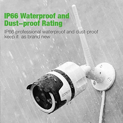 Outdoor IP66 Waterproof Security Camera, Conico 1080P Home Surveillance Camera WiFi IP Camera with Face Sound Motion Detection Night Vision Two Way Audio Cloud Storage 2.4G WiFi Connection