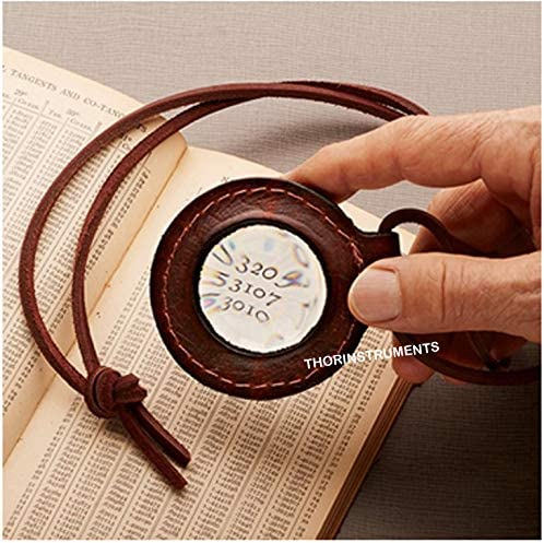 Nautical Magnifying Lens with Leather Holder Leather Rimmed Magnifying Glass Lens Necklace