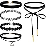 FIBO STEEL 5PCS Womens Black Velvet Choker Necklace for Girls Lace Choker Tattoo Necklace