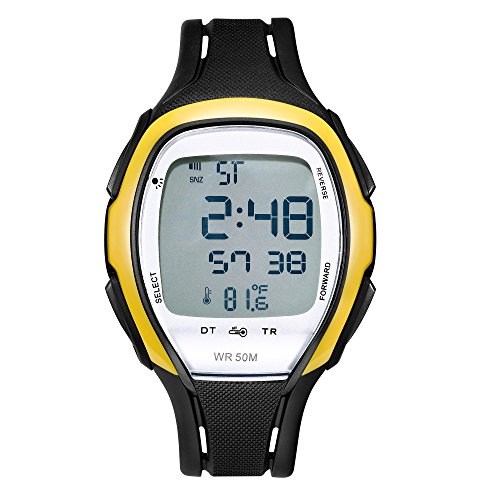 Sensor Black Digital Unisex Watch (Digital Watches Waterproof Sports Watch EL Backlight Stopwatch Thermometer Temperature Sensor(Black with Yellow Ring))