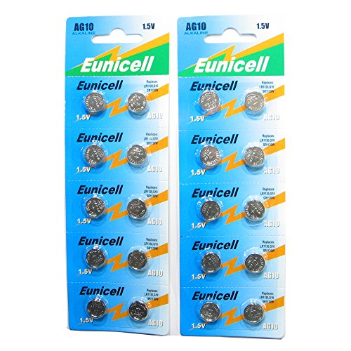 20 Eunicell AG10 / 189 / 389 / LR1130 Button Cell Watch Battery With Long Shelf Life (Expiry Date Marked)