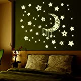 TOYMYTOY Glow in The Dark Moon and Stars Wall Ceiling Stickers Decals Children Nursery Room Living Room Bedroom Decoration