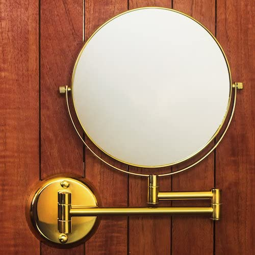 Hotel Quality 8 Magnification Wall Mount Swing Arm Mirror. Two-Sided Regular 7X Magnification. Bright Gold Finish.