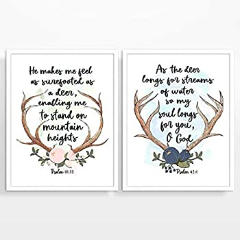 Psalm 18:33 and Psalm 42:1 Christian Art Prints, Set of 2, Unframed, Bible Verse Scripture Watercolor Wall Decor Poster, Deer Antlers Art, 8x10 Inches