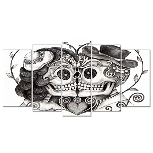 Hello Artwork - Canvas Print Art Vintage Skull Head Couple Love With Flower In Eyes Human Skeleton Man And Woman Tattoo idea The Pictures Print On Canvas For Home Decor (Large Size 60x32inch)