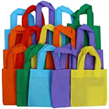 24 Pack Party Favor Tote Gift Bags with Handles - Polyester Non-Woven Material - 24 Pack - Assorted Bright Colors - Dazzling Toys