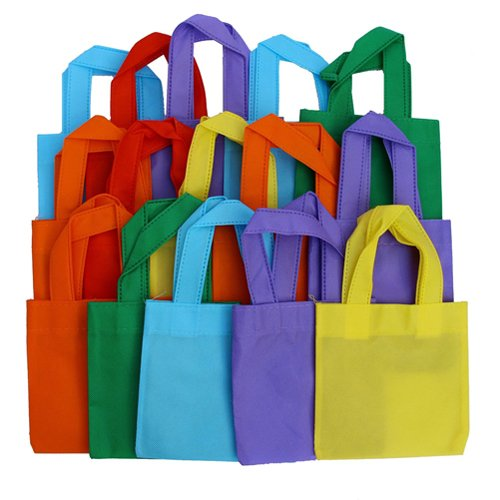 Party Favor Tote Gift Bags with Handles - Polyester Non-Woven Material, 24 Pack, Assorted Bright Colors - by Dazzling (Favor Bag)