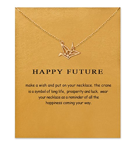 - Clavicle Necklace with Card, Small Dainty Pendant,Greeting Card with Best Wish, Delicate and Classy Party Jewelry Favors, Alloy