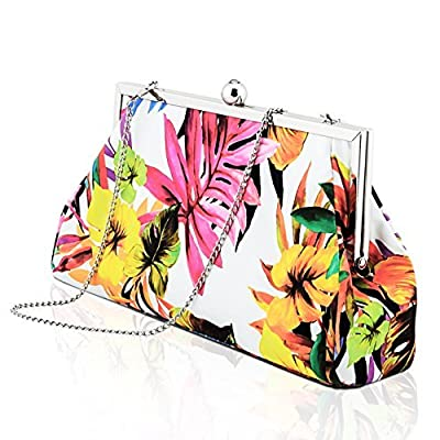 YVGS Ladies Evening Clutch Handbag Purse Bag With Detachable Metal Chain for Party Wedding Party -Floral